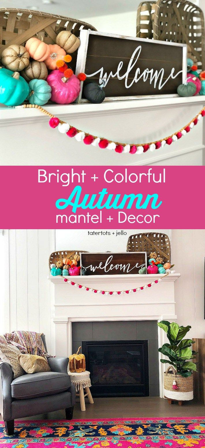 Bright and Colorful Mantel and Decor Ideas for Fall! images
