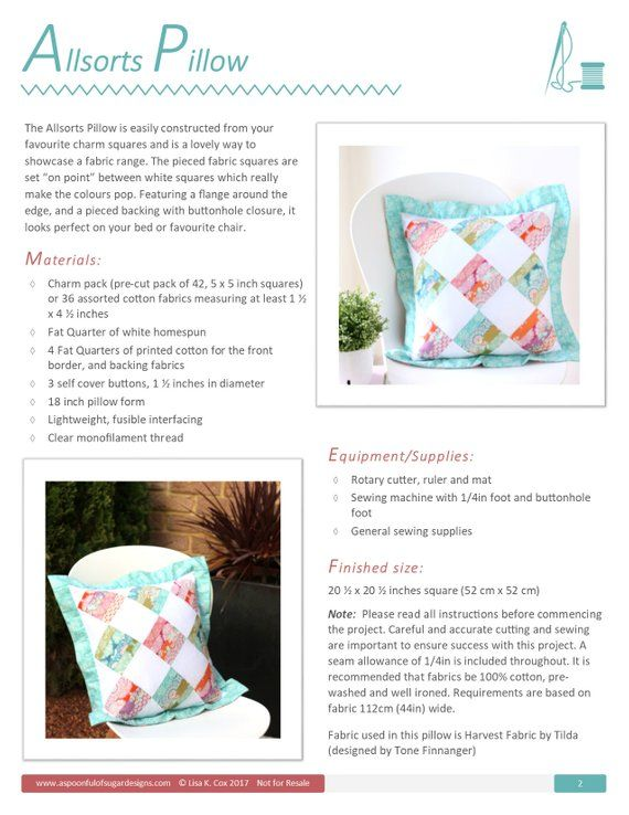 Allsorts Pillow PDF Sewing Pattern | Pillow covers | Pinterest