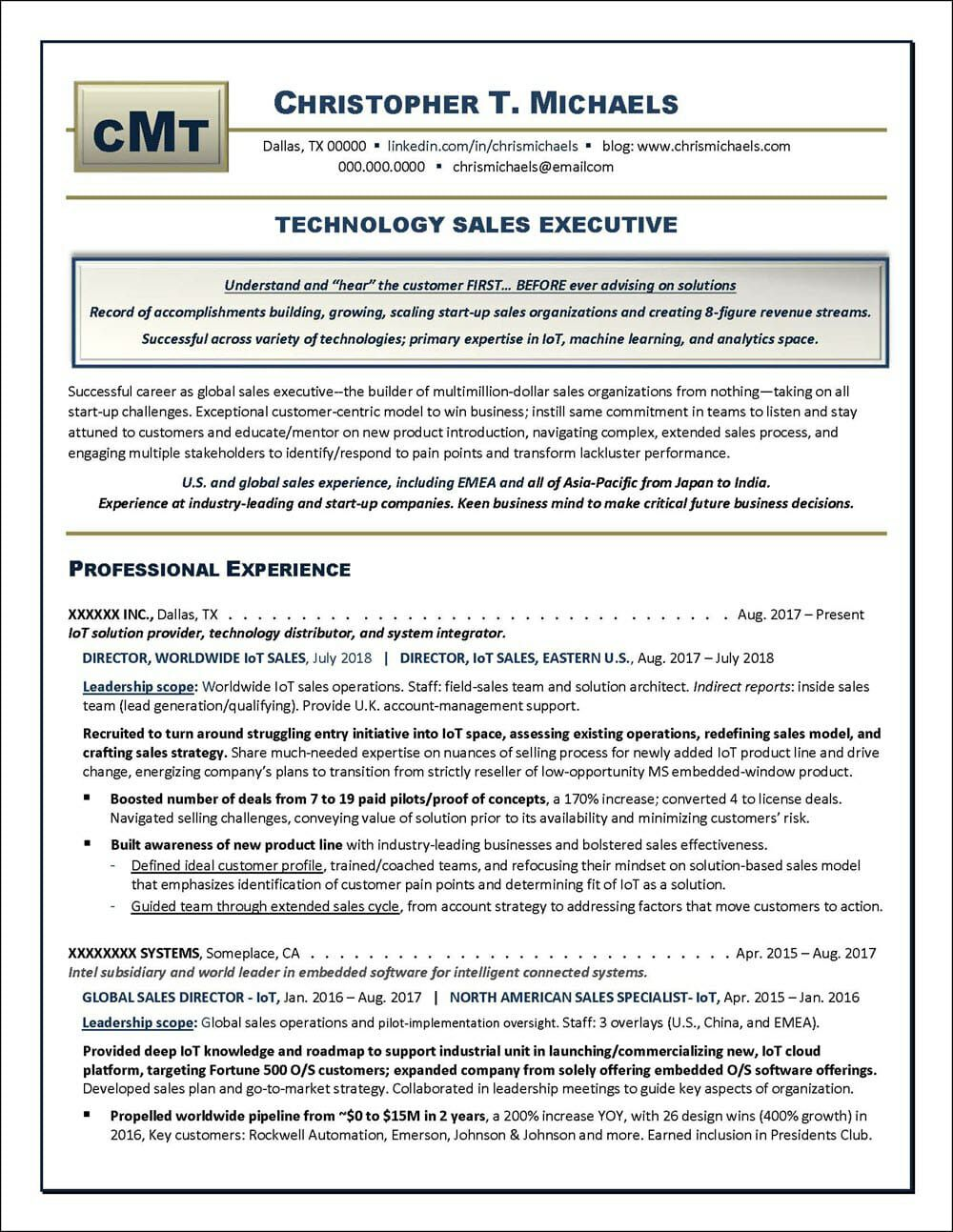 Technology Sales Executive Resume Distinctive Career Services Executive Resume Job Resume Examples Resume Examples