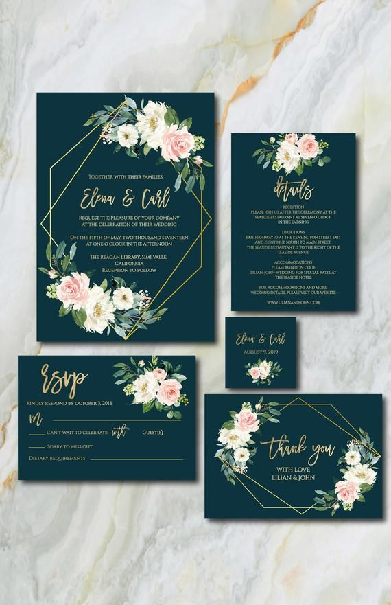 Emerald And Gold Wedding Invitation Suite Template Wedding Etsy Wedding Ceremony Invitations Wedding Party Invites Gold Wedding Invitations