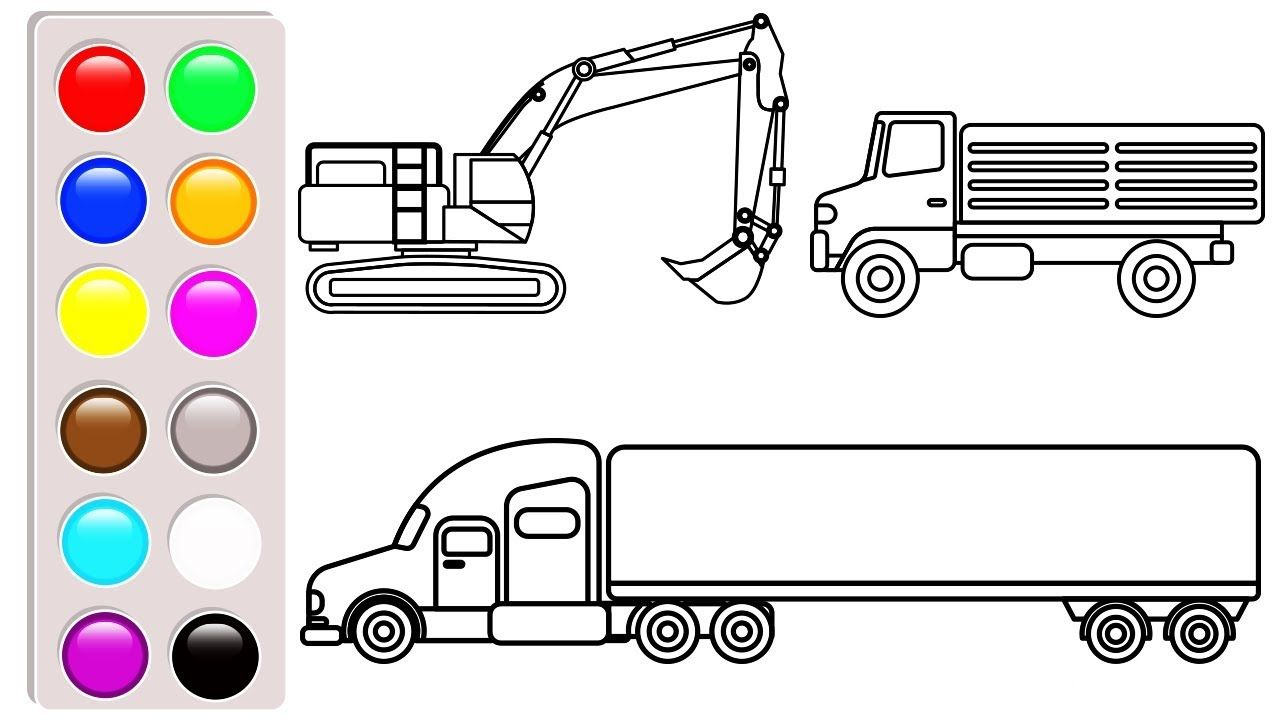 Learn Colors With Excavator Container And Dump Truck Coloring Pages Ca