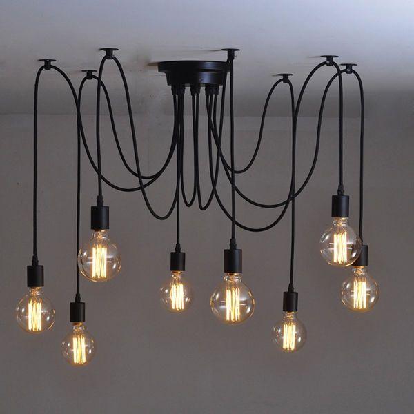Details About Vintage Industrial Adjusted DIY Ceiling Lamp Glass Pendant Lighting Chandelier