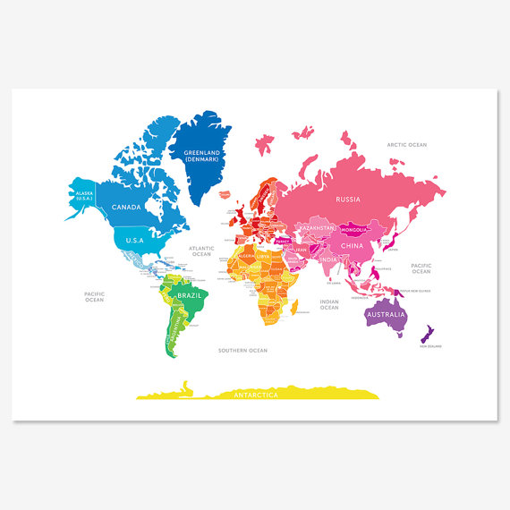 Bright and colorful world map travel pinterest mapas oficina bright and colorful world map gumiabroncs Image collections