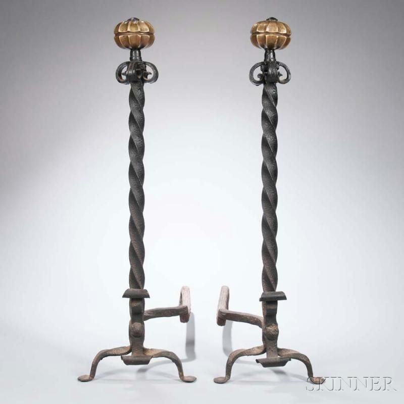 Pair of Tall Brass and Wrought Iron Andirons - Price Estimate: $200 - $300