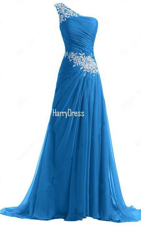 A Line One Shoulder Chiffon Sweep Train Appliques Lace Royal Blue Prom Dress