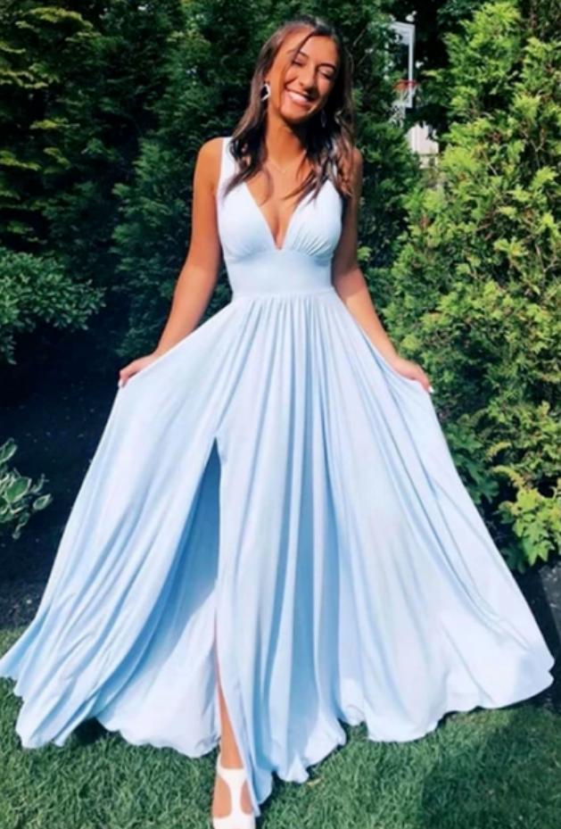 Simple blue v neck long prom dress, evening dress
