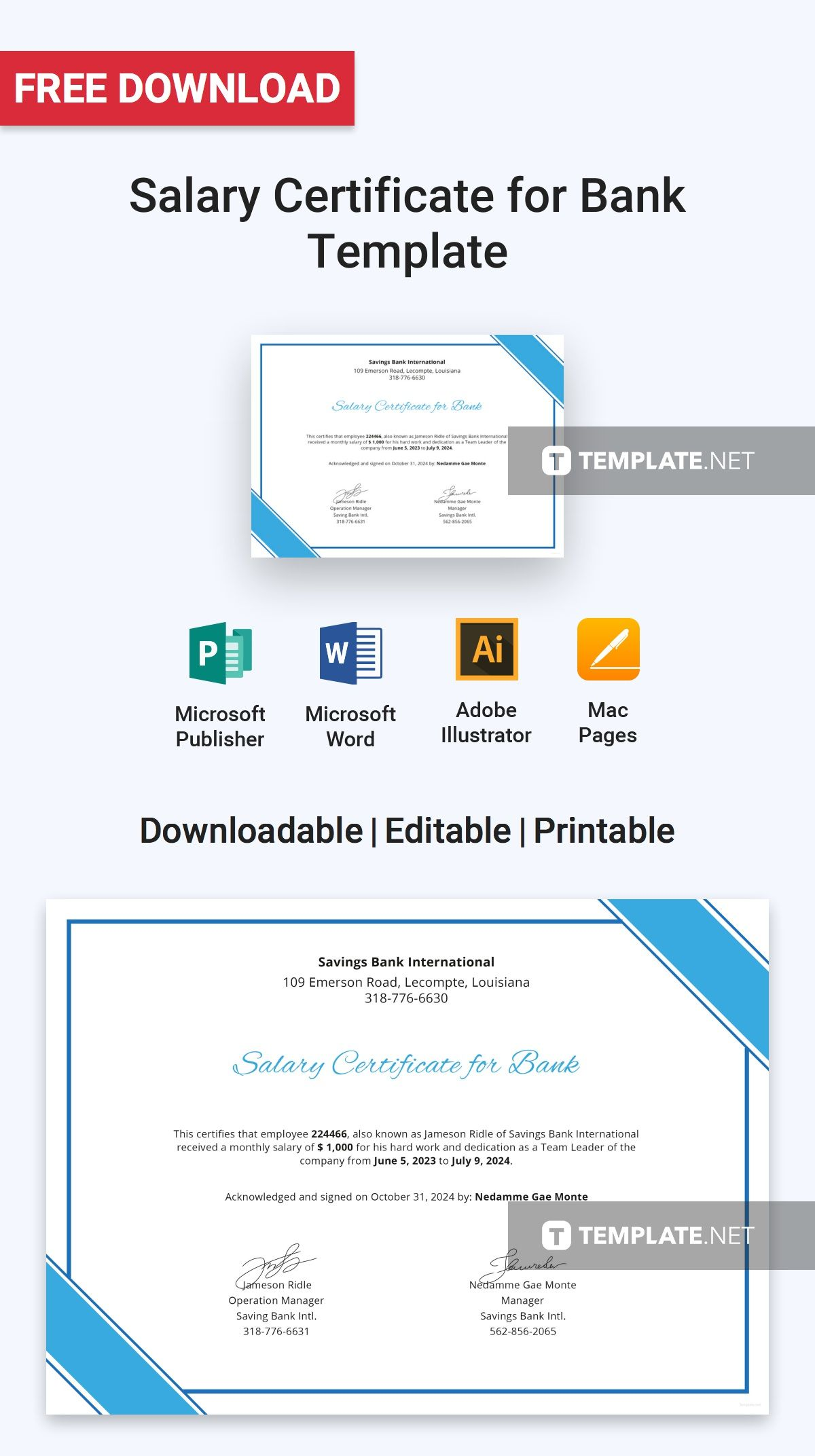 Free Salary Certificate for Bank Certificate Templates