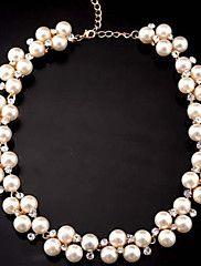 Femme Colliers Déclaration perle Strand Perle Imitation de diamant Alliage Le style mignon Blanc Bijoux Pour Soirée