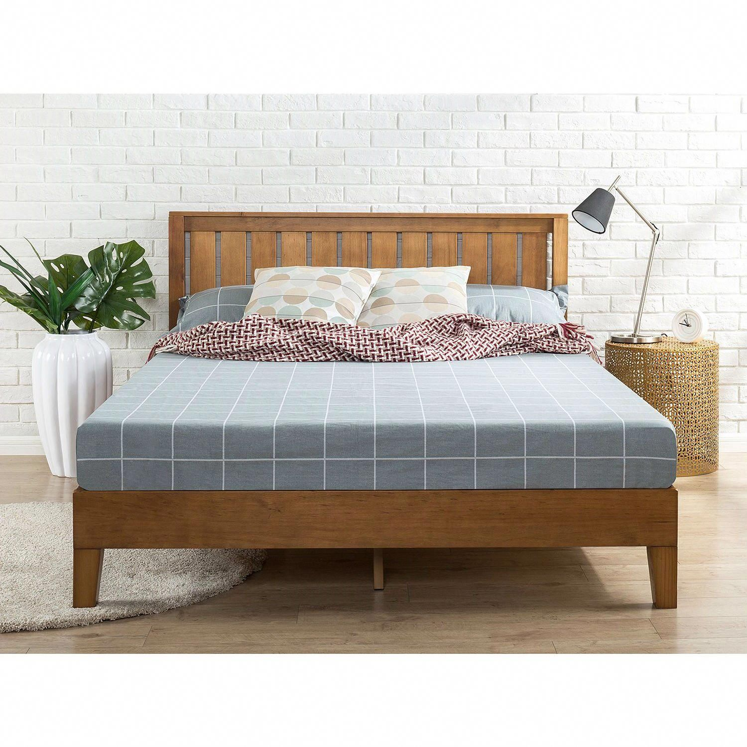King size Solid Wood Platform Bed Frame with Headboard in