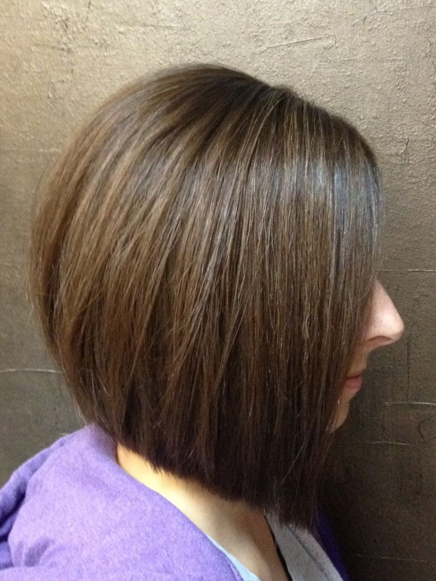 slight inverted bob with long layers