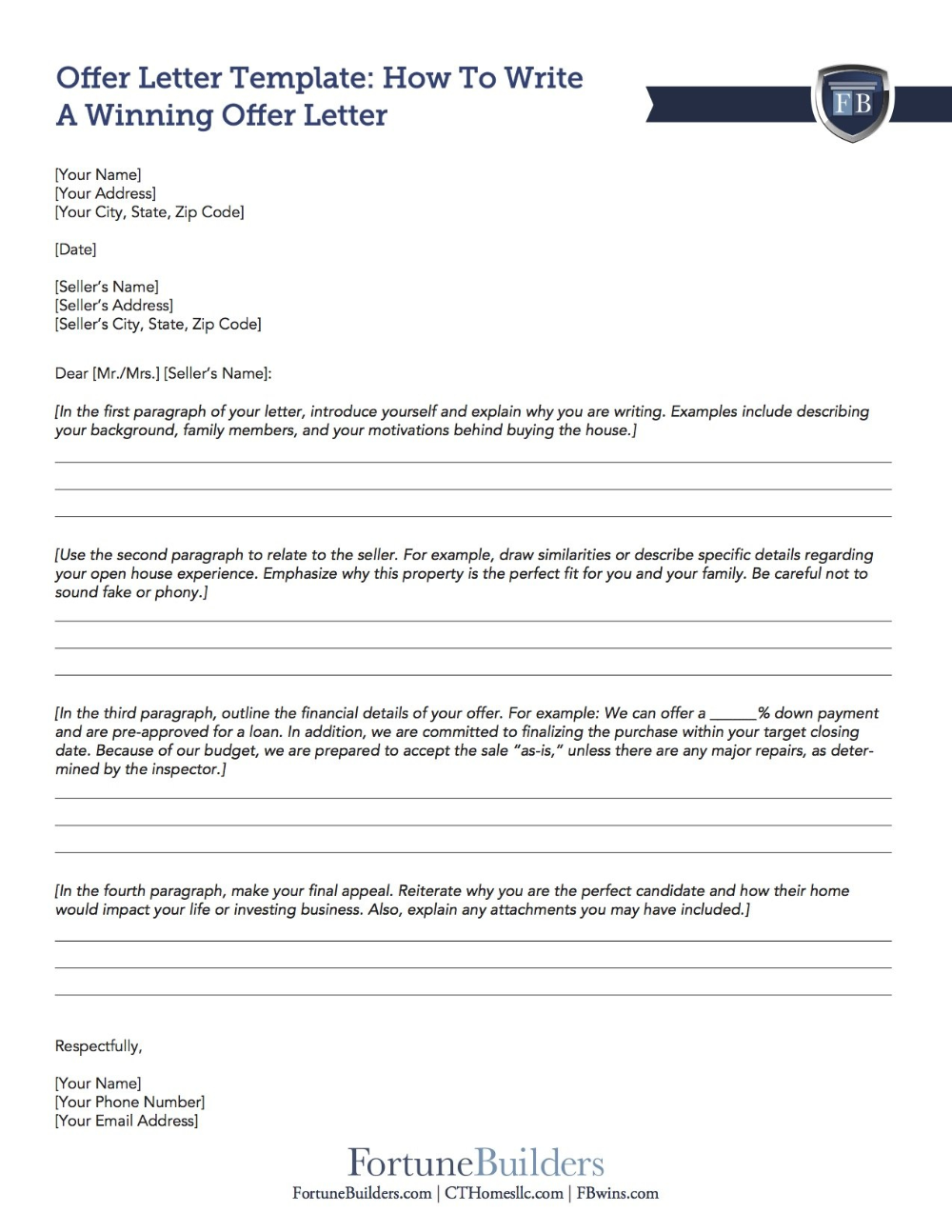 Free Real Estate Offer Letter Template Fortunebuilders