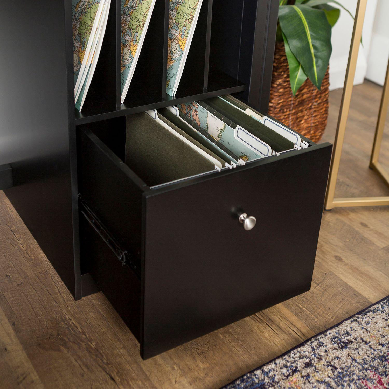 Black Deluxe Wood Storage Computer Desk