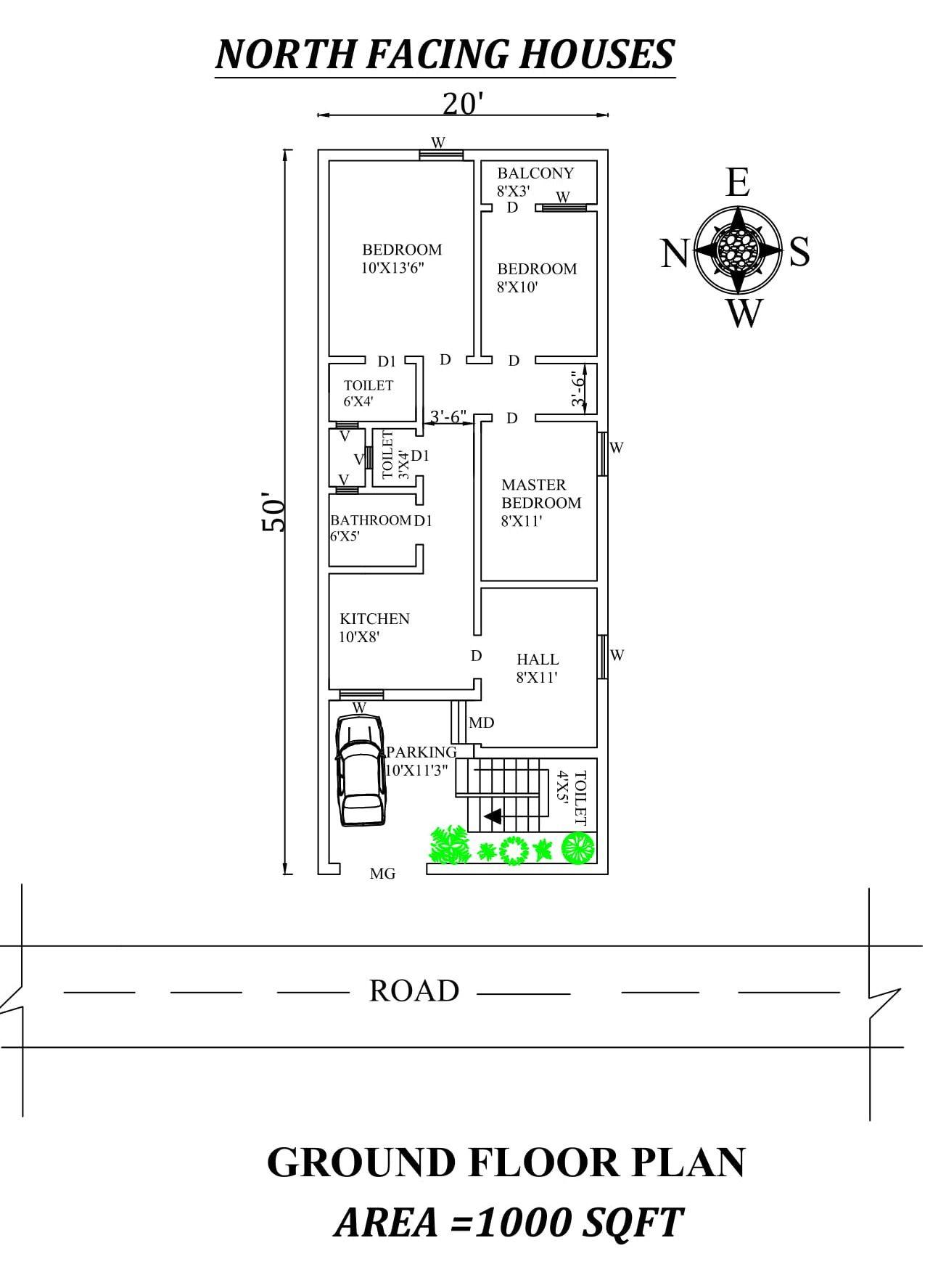20 X50 Splendid 3bhk North Facing House Plan As Per Vasthu Shastra Autocad Dwg North Facing House 2bhk House Plan 20x40 House Plans