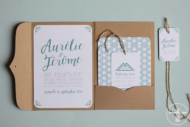 Favori Bidouillé par lili - Faire-part Kraft & vert - Papeterie, mariage  WM54
