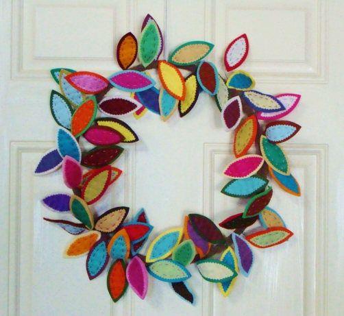 Felt Leaf Wreath 16-18 Across Cheerful Summer Colors #feltcreations