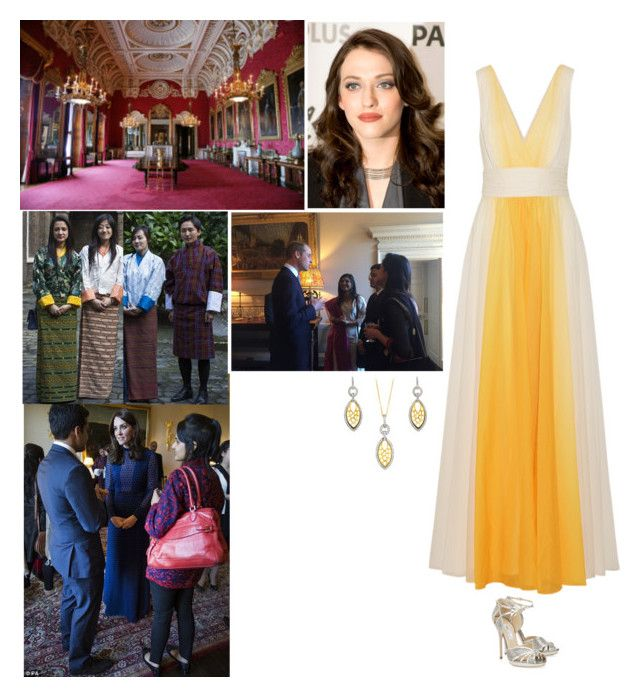 """""""Holding a pre-tour reception at Buckingham Palace to meet with citizens of India and Bhutan."""" by new-generation-1999 ❤ liked on Polyvore featuring Halston Heritage, Jimmy Choo and BERRICLE"""