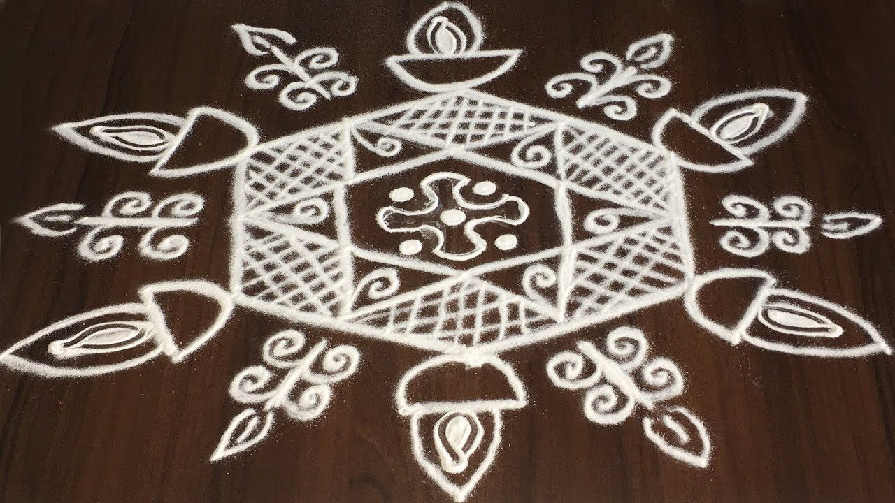 Simple DIWALI RANGOLI DESIGNS WITH 5 TO 3 DOTS EASY DIYA