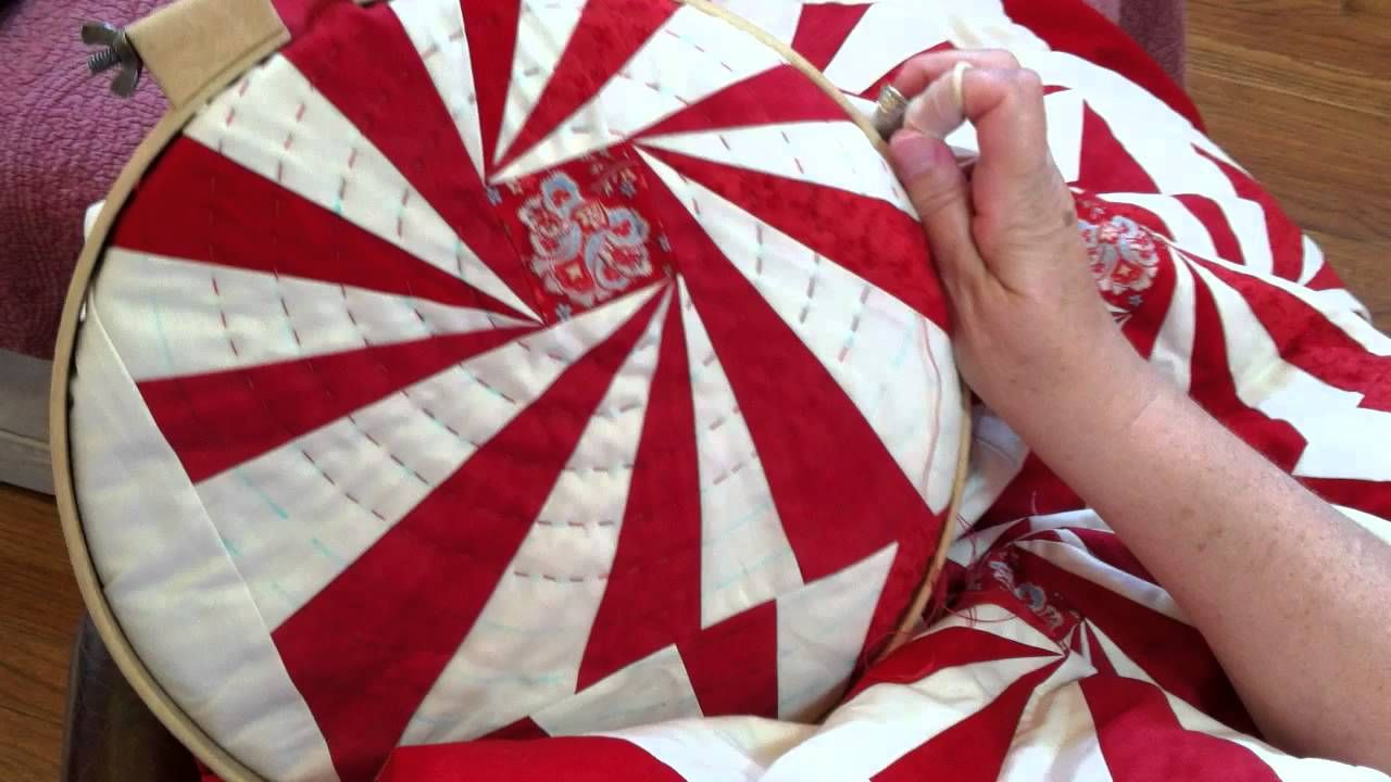 Big stitch hand quilting demonstration minick and