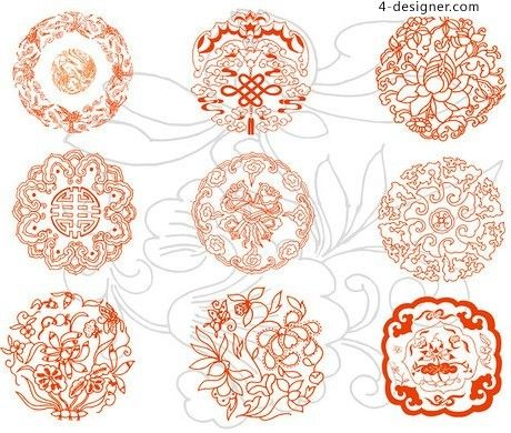 Chinese traditional paper cutting pattern vector material | chinese ...