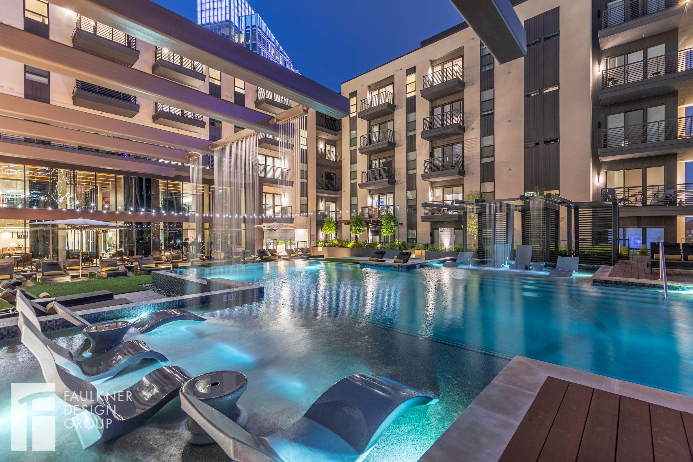 Designed By Faulkner Design Group Infinitypool Resortstylepool Luxurydeck Outdoorlounge Lounger Luxury Apartments Resort Style Pool Texas Apartments