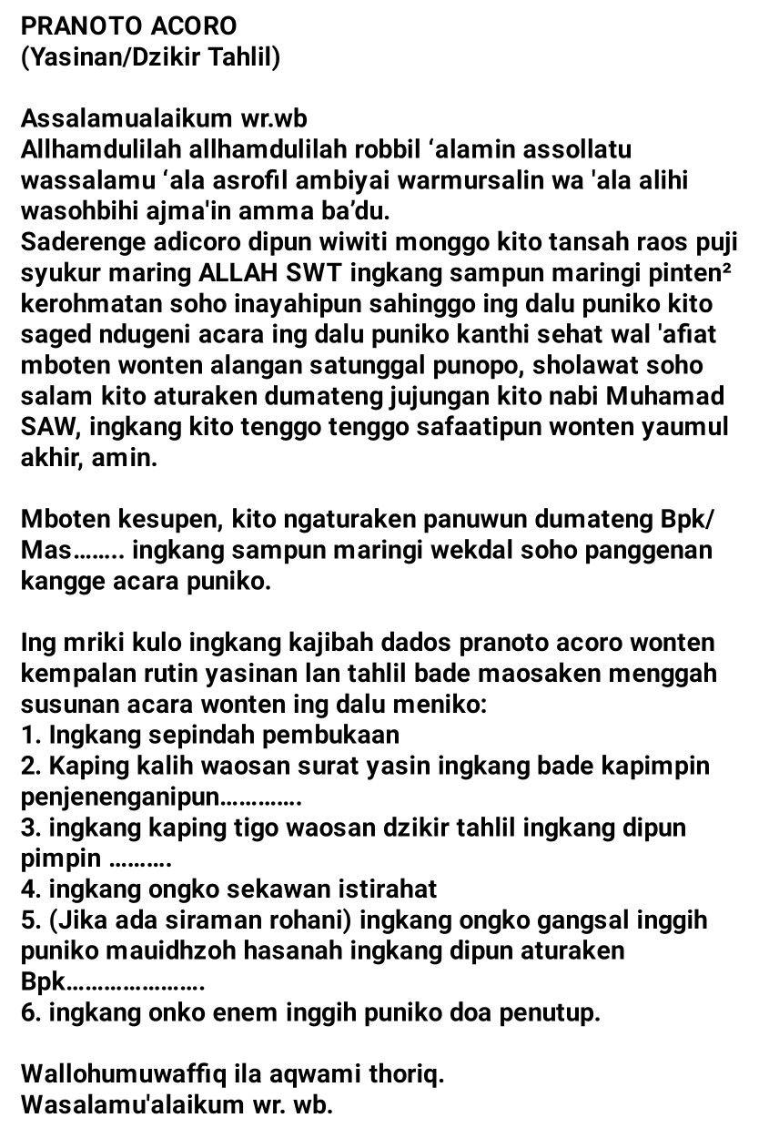 Kumpulan Contoh Teks Pembawa Acara Arisan Rt