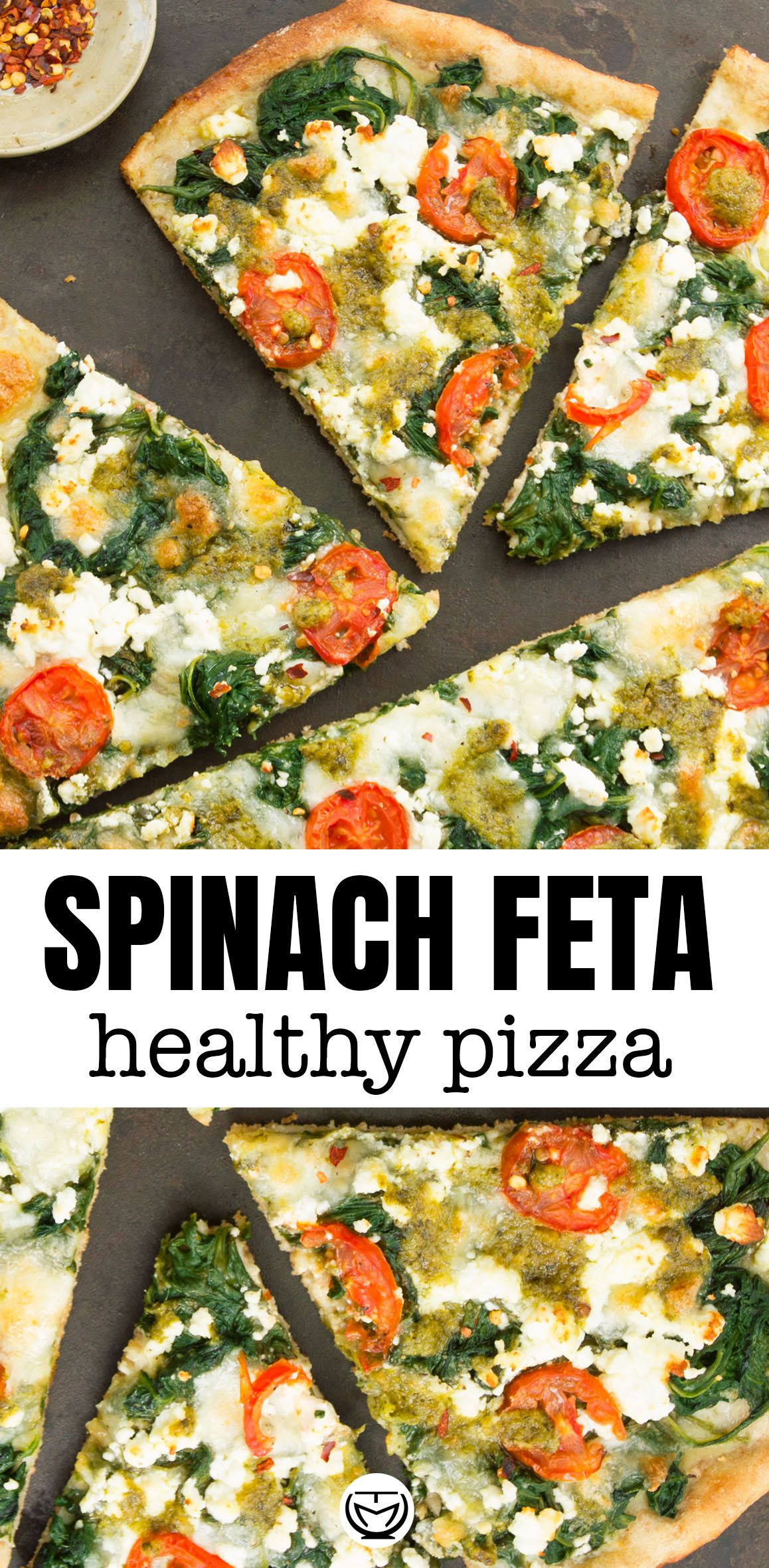 Easy homemade spinach pizza with feta and pesto