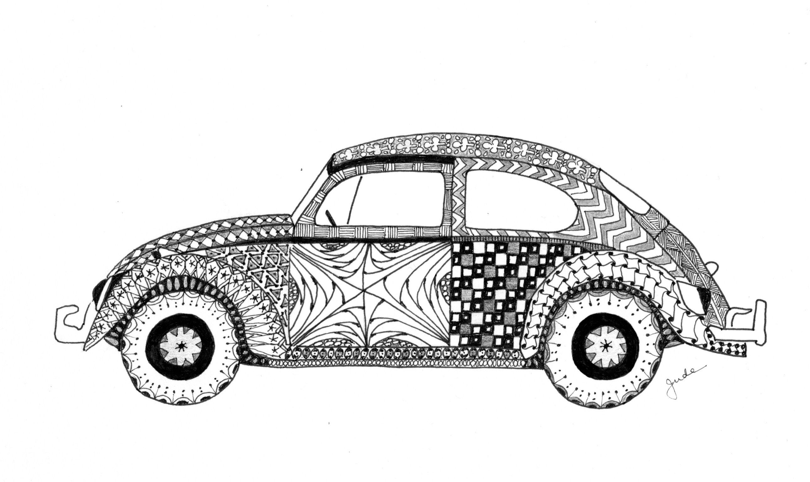 Vw Beetle 2 Zentangle Zentangle Sketchbook Drawings Coloring Pages