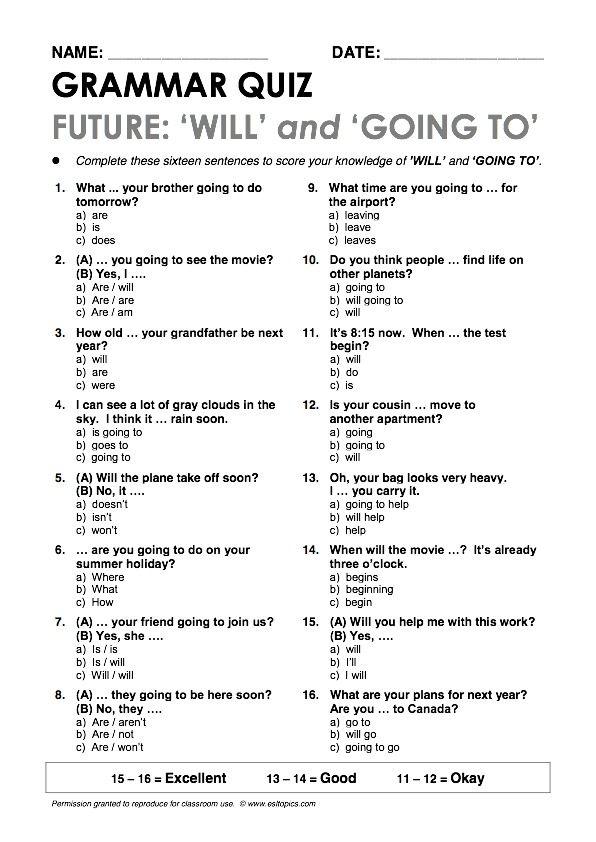 Will And Be Going To Grammar Quiz Exercicios De Ingles Aulas