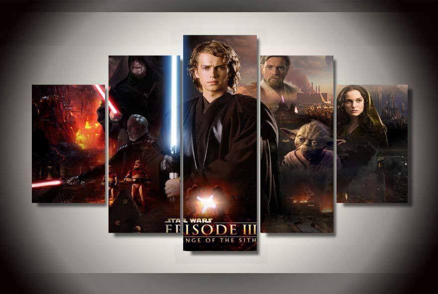 5 Panel Star Wars Episode 3 Revenge Framed Wall Canvas Art Framed Wall Canvas Poster Prints Custom Canvas Prints