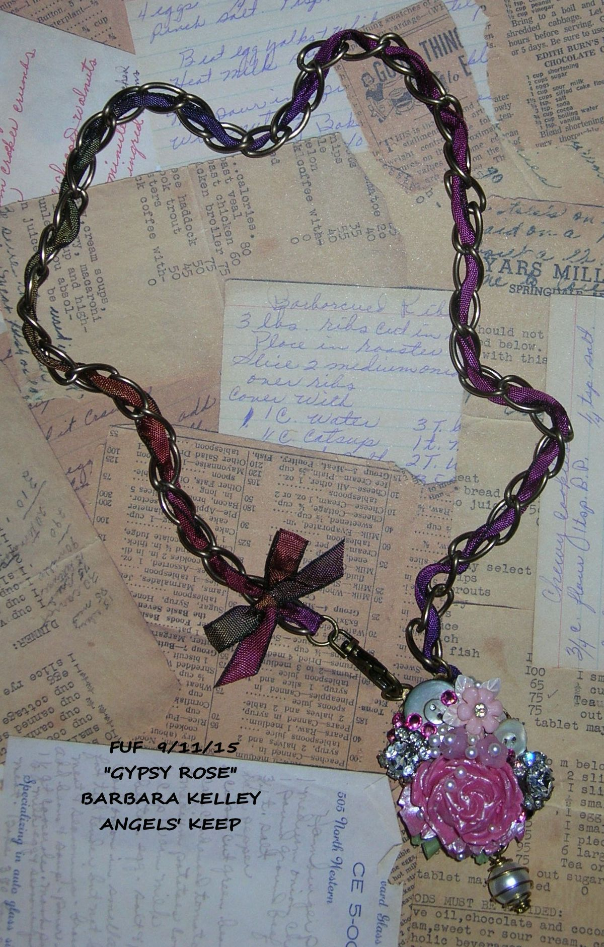 """FUF 9/11/15 OOK Artisan mini assemblage pendant on 18"""" old brass ox chain intertwined with romantic Purple Haze gypsy ribbon.  Lots of vintage bling.  Pieces of old broken earrings, sparkly rhinestone bracelet links, a lovely resin rose softened with thinned Lumiere pearl white paint, faux pearl dangle. On a faux pearl cabochon in a lacy brass bezel mount.  Handcrafted by Barbara Kelley, Angels' Keep.  All components except vintage bits from b'sueboutiques.com-where the GOOD STUFF is!"""