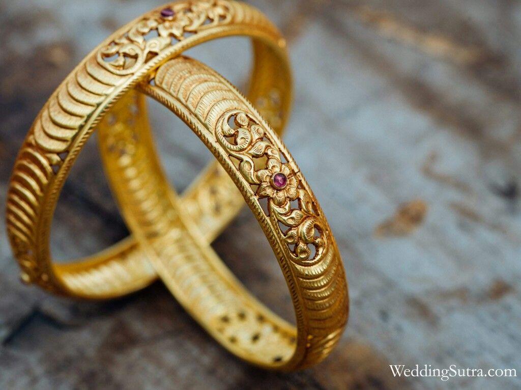 205c332fe2f49 Azva modern gold floral bangles on WeddingSutra bride #Goldjewellery ...