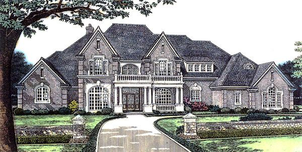 European french country tudor victorian house plan 66026 for Large french country house plans
