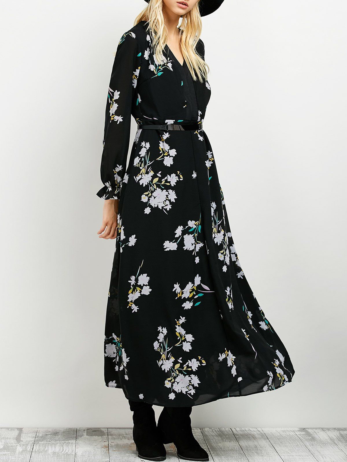 Maxi floral print dress long sleeve maxi black maxi and maxi dresses