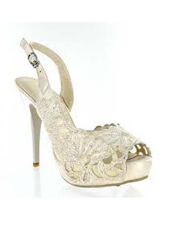 Superior Ivory Rhinestone Studded Peep Toe Bridal Shoes Nice Look