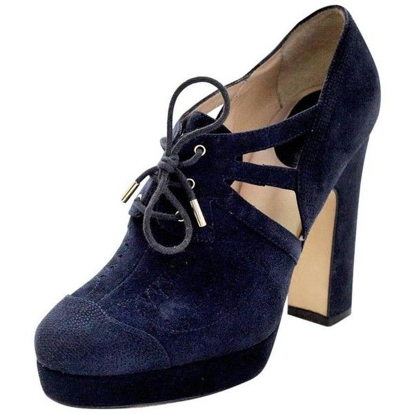 9be40b66776 Preowned D g Navy Suede Lace Up Platform Pumps Sz 39 (8.685 RUB) ❤ liked on Polyvore  featuring shoes
