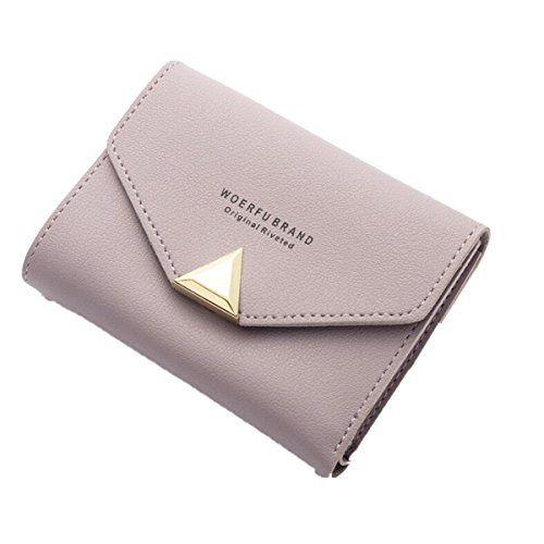 dbd7594493db1 OURBAG Damen Mode Leder Geldbörse Mädchen Karteninhaber Falten Portemonnaie  Kleine Handtasche PurPur. Material  wählen