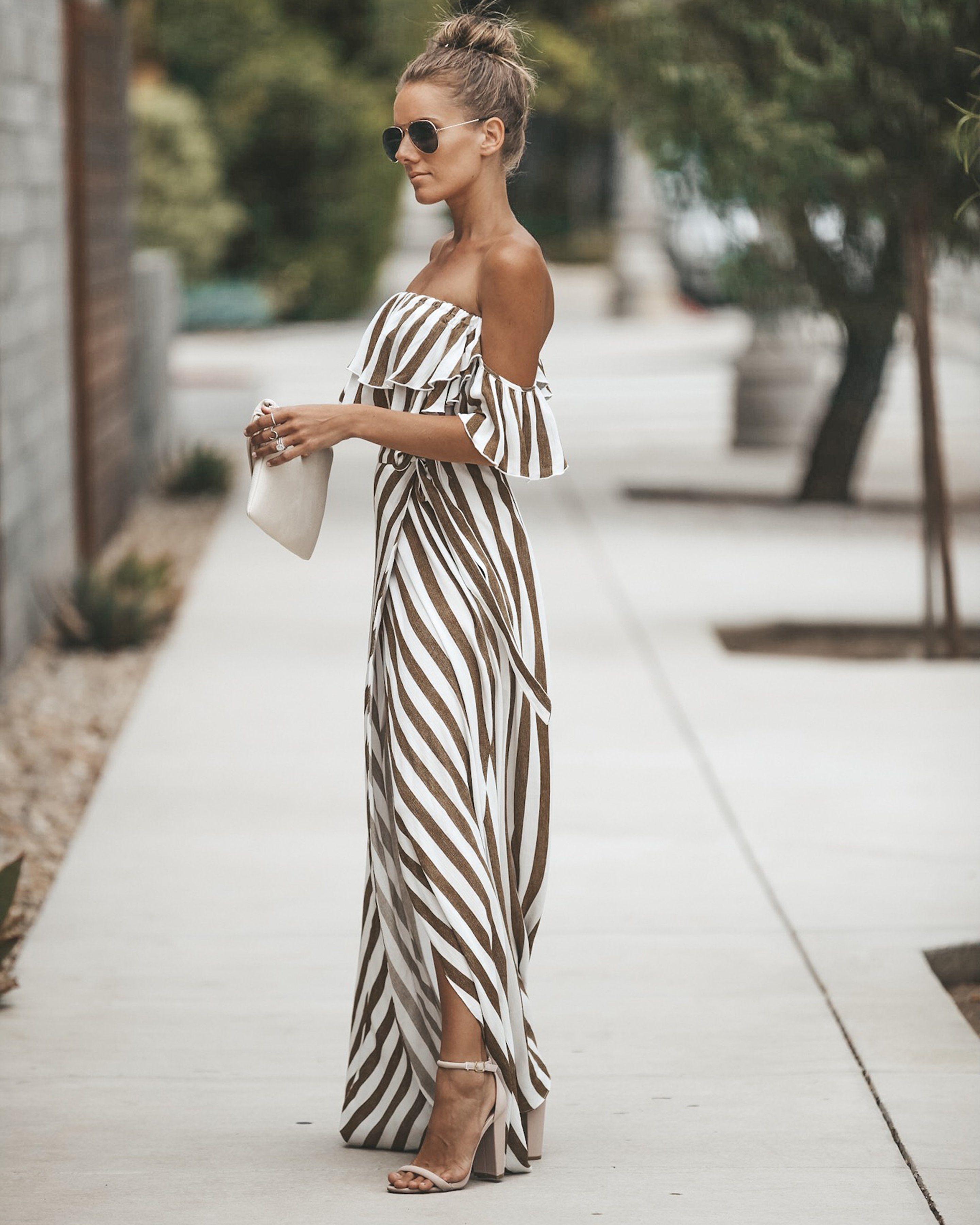 Eclipse Striped Wrap Maxi Dress Dark Taupe Maxi Dress Womens Summer Fashion Outfits Fashion [ 3600 x 2881 Pixel ]
