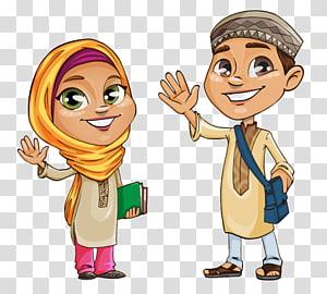 Man And Woman Quran Islam Muslim Kids Cartoon Transparent Background Png Clipart Cartoon Princess Cartoon Cartoons Png