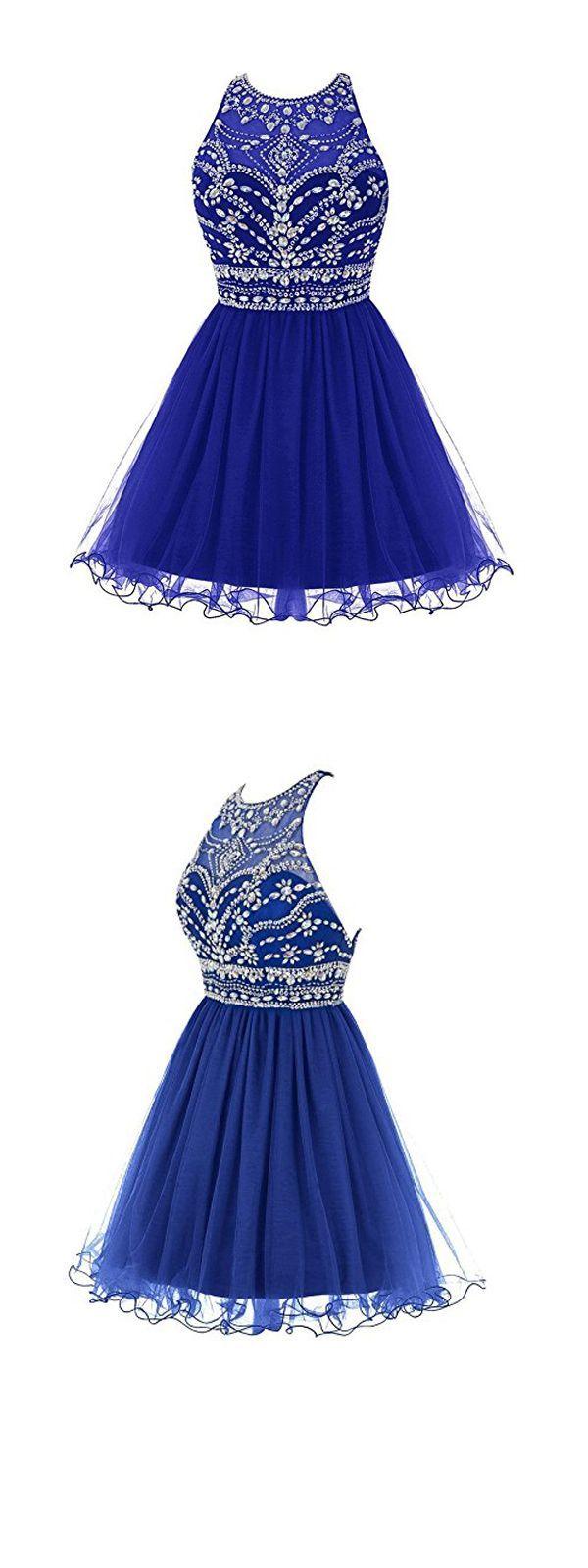 Royal blue prom dressbeaded prom dressfashion homecoming dress