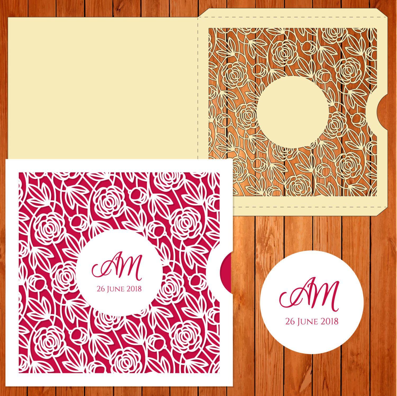 Wedding card invitation template, figures, roses, leaf (ai, eps, svg ...