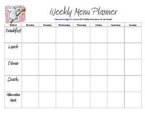 Free Printable Menu Planners Weekly Meal Planner Template Menu