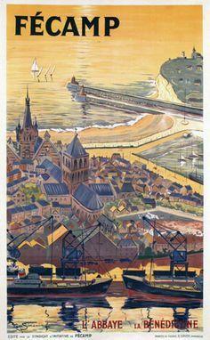 Vintage Travel Poster - Fécamp - l'Abbaye de la Bénédictine - Dép…