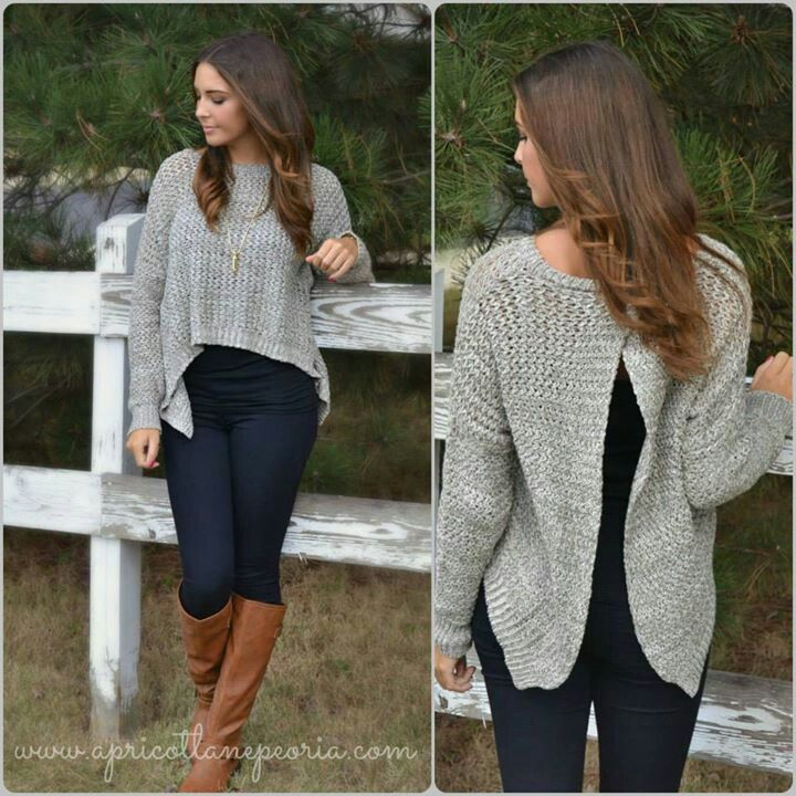 Crop top open back sweater