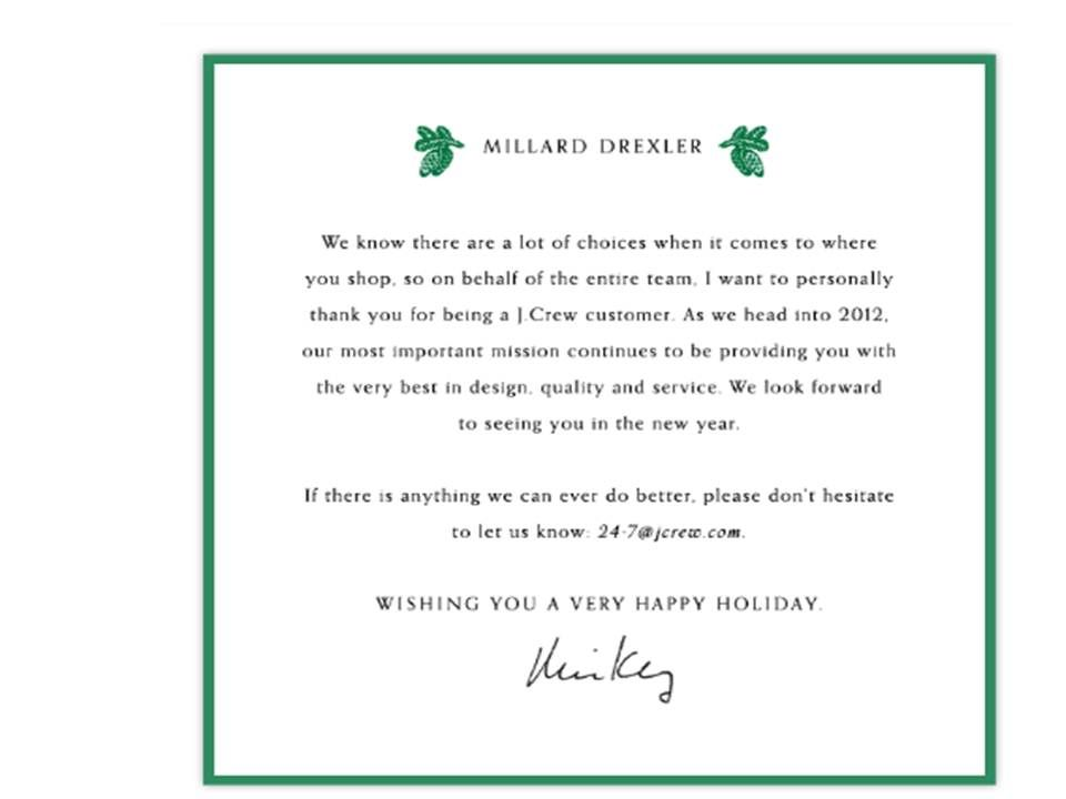 JCrew  Holiday Thank You From Ceo  Email Marketing