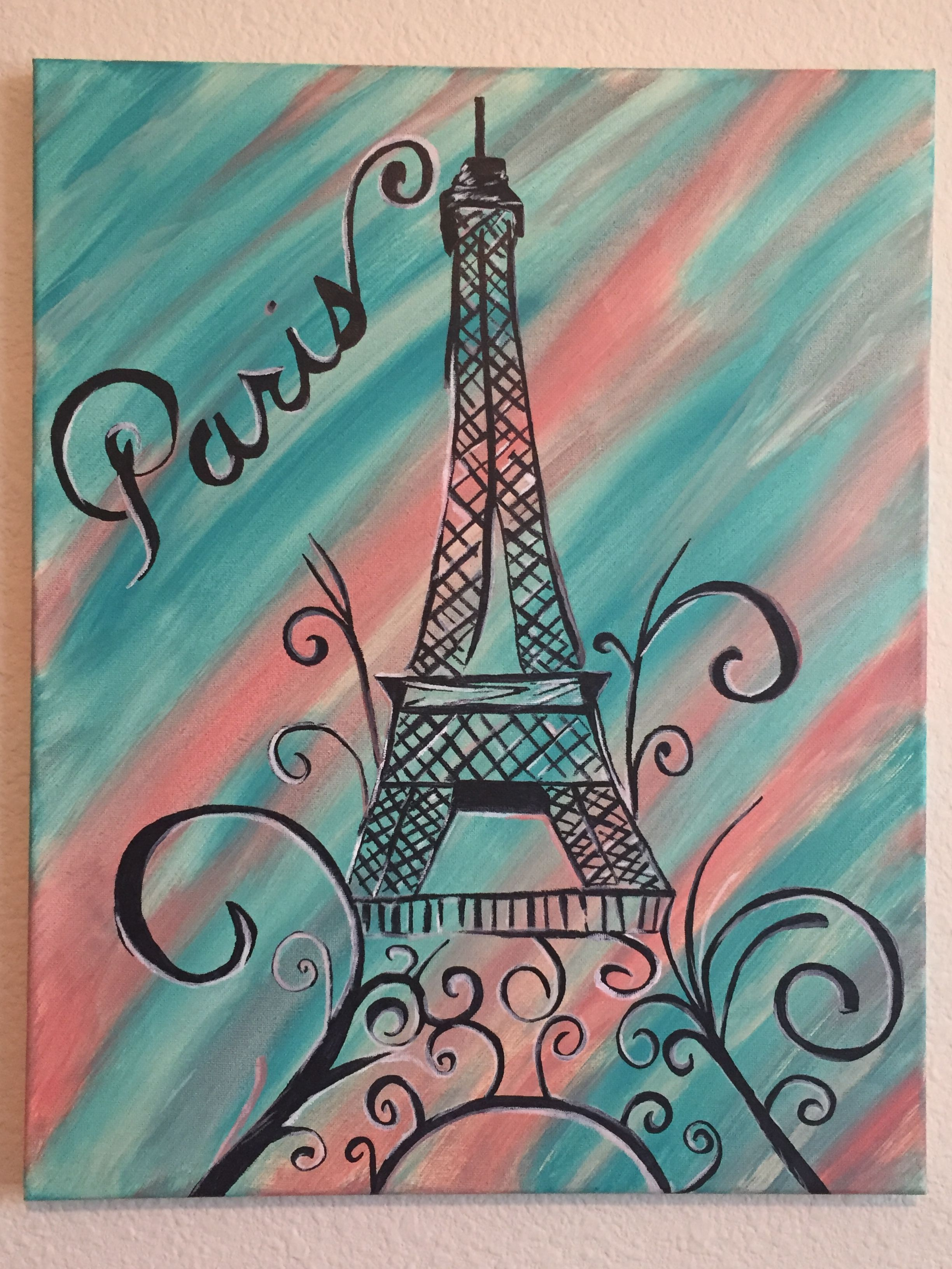 teal and coral back ground Paris canvas I made to match a