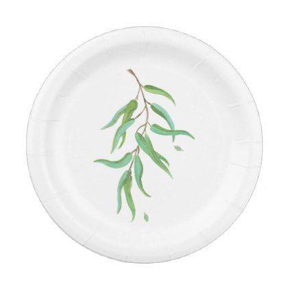 Green Eucalyptus Botanical Leaves Rustic Wedding Paper Plate ...
