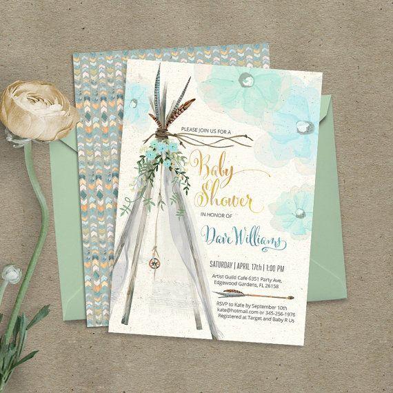 Teepee Bohemian Baby Shower Invitation. By CardaMoonPaperie