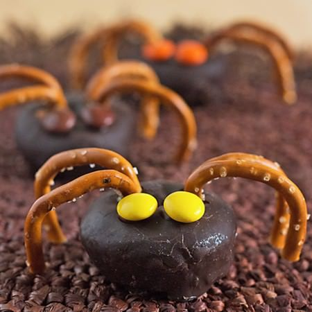 15 Fun Food Creations for Halloween, including these Mini Spider - cheap halloween food ideas