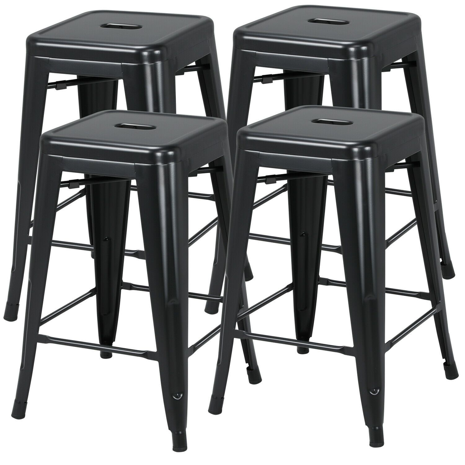 24 Metal Bar Stools Set Of 4 Backless Stackable Counter Height Kitchen Black Metal Bar Stools Bar Stools Modern Bar Stools