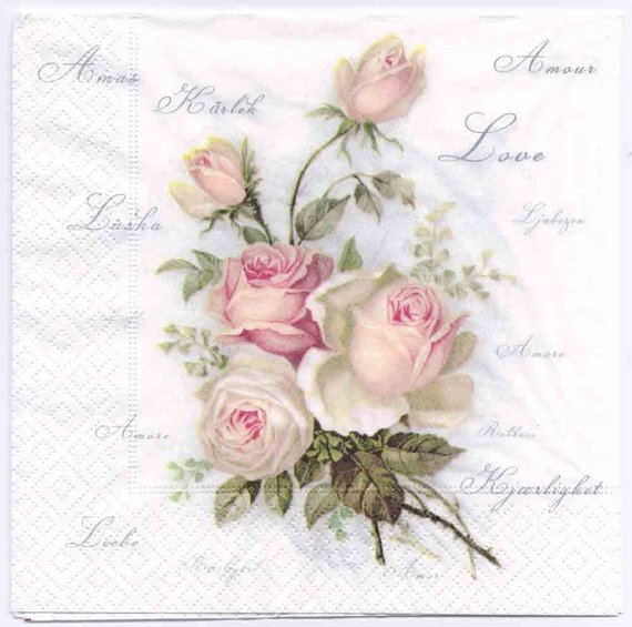 VINTAGE WHITE ROSE POSTCARD STAMP 20 Paper Lunch Napkins DECOUPAGE SHABBY CHIC